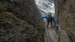 Climbing A Horrible Chimney On The Aiguille du Peigne
