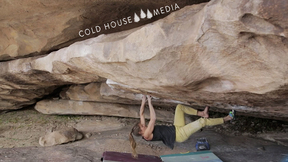 Char Climbs V9 With One Shoe In Hueco TX || Cold House Media Vlog 042